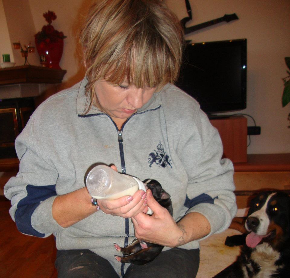 Cristina Filippin cucciolo biberon